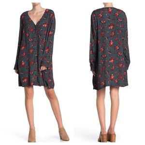 Madewell Floral Button Front Easy Dress Green XXS